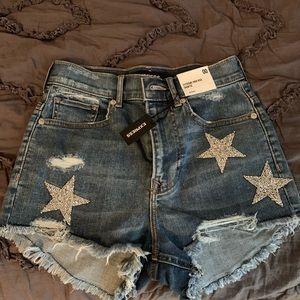 Express High Waisted Star Jean Shorts